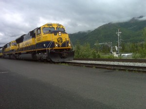 Alaska Railroad pulls Princess Rail's glass-domed cars south from Denali to Talkeetna.