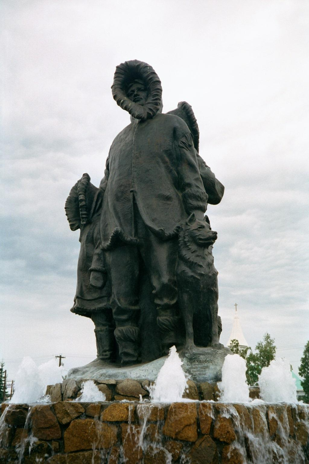 The First Family of Fairbanks statue inspires travelers to explore Alaska's wilderness (source: Joyce Longfellow)