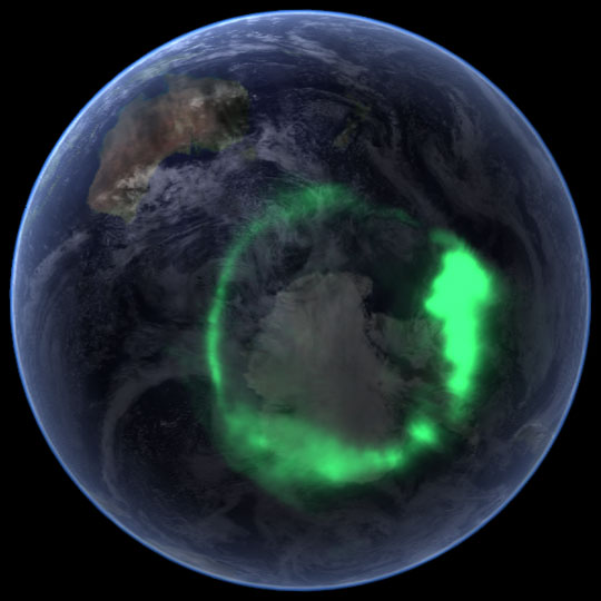 Aurora above Antarctica, from space