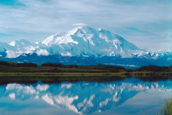 Denali reflected in wonder lake, Denali National Park, Alaska