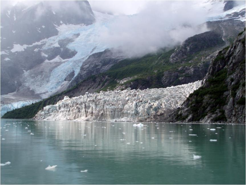 a glacier meets the water and creates small speckled icebergs