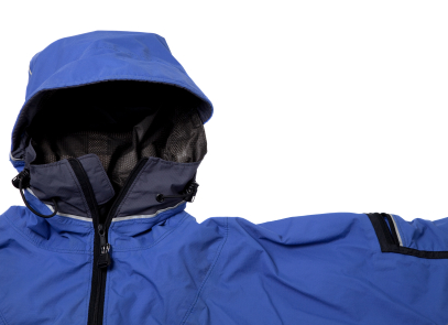 Blue hooded rain jacket with black zippers