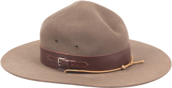 flat-brimmed hat with leather trip resembling a park ranger hat