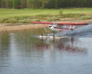 A floatplane on a lake