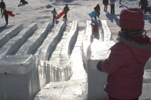 Ice slides at 2012 BP Ice Art Championship in Fairbanks Alaska from Princess Lodges
