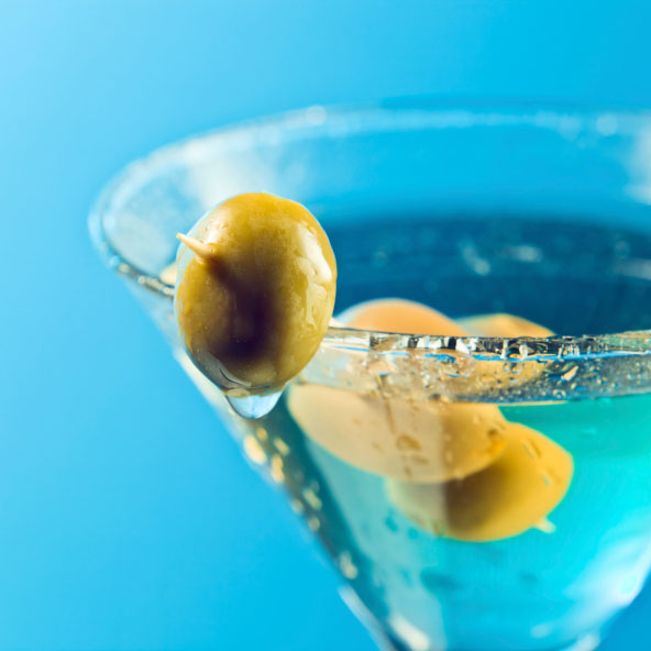 dry martini with green olives