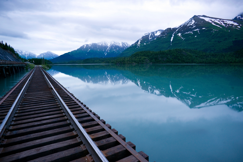 Railroad through Alaska lake