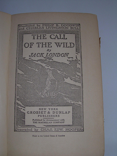 "Page of the book ""The Call of the Wild"" by Jack London."
