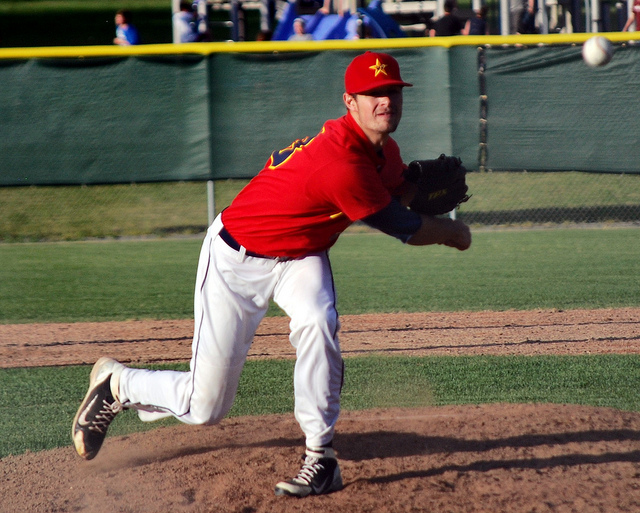 Pitcher of the Fairbanks Goldpanners' throws the ball from the mound