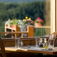 Denali restaurant photo of table near window and flowers outside
