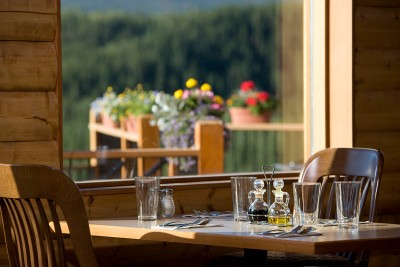 Table in front of the window overlooking Denali National Park