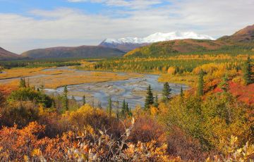 Alaska lake in the fall with brightly colored trees and mountains in the background