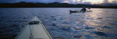 Kayakers on a lake in Alaska