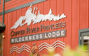 Sign with lodge name - Copper River Princess Wilderness Lodge