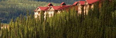 Alaska Lodge Exterior - Denali Princess Wilderness Lodge sits above the Nenana River