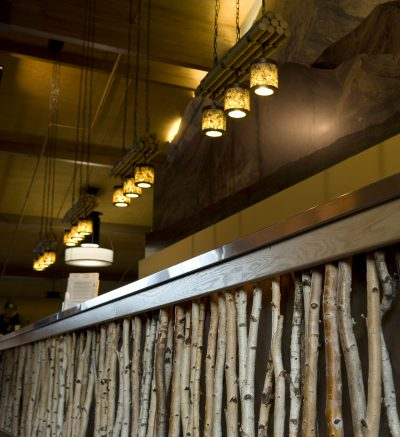 Pendant Lights above the front desk at Denali Princess Wilderness Lodge