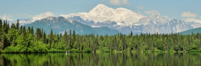 Mt. McKinley in Alaska with lake in the foreground