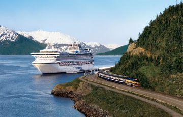 Denali Express Train With Sapphire Princess in Whittier Alaska