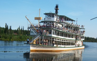 Riverboat Discovery authentic sternwheeler cruising on the Chena River.
