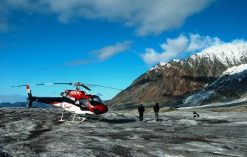 Glacier Landing by Helicopter