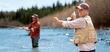 Two men fly fishing on the Copper River