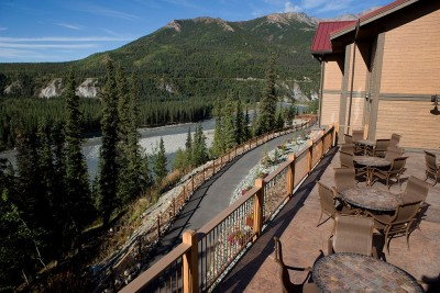Terrace overlooking the river at the Denali Princess Wilderness Lodge