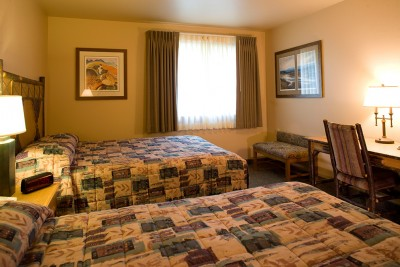 Standard room at Denali Princess Wilderness Lodge with two queen beds