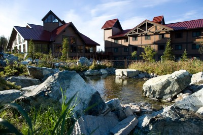 View of Denali Princess Wilderness Lodge from river