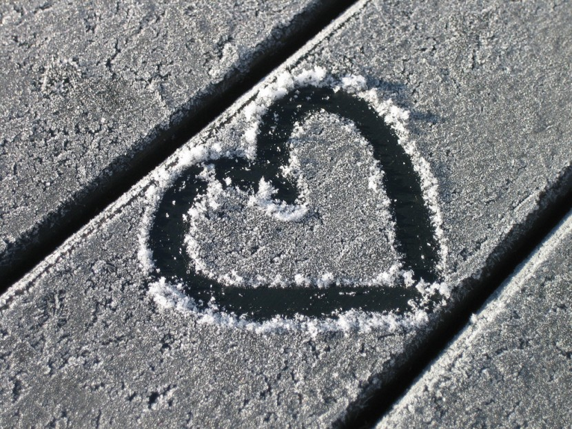 A heart drawn in frost