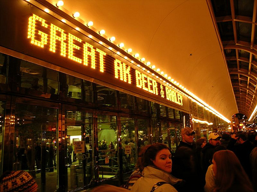 readerboard reads 'Great AK Beer & Barley' at night in downtown Anchorage.