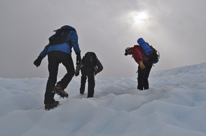 Hikers on Root Glacier