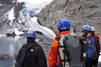 Hikers at Worthington Glacier