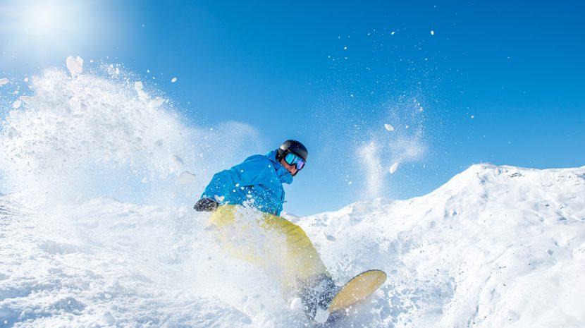 A snowboarder in Alaska
