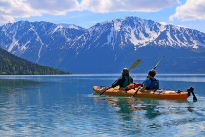 Two kayakers on Kenai Lake