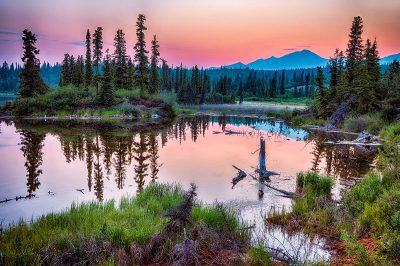 A sunset in Wrangell-St Elias National Park