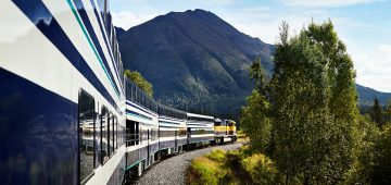 Princess Railcars being pulled by Alaska Railroad locomotive - viewed from onboard the back of the train