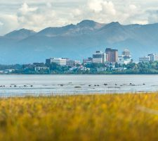 The city of Anchorage enjoys a magnificent backdrop of the Chugach mountains.