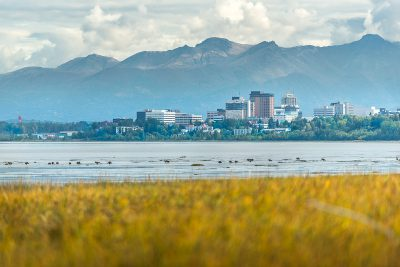 Downtown Anchorage with mountains behind