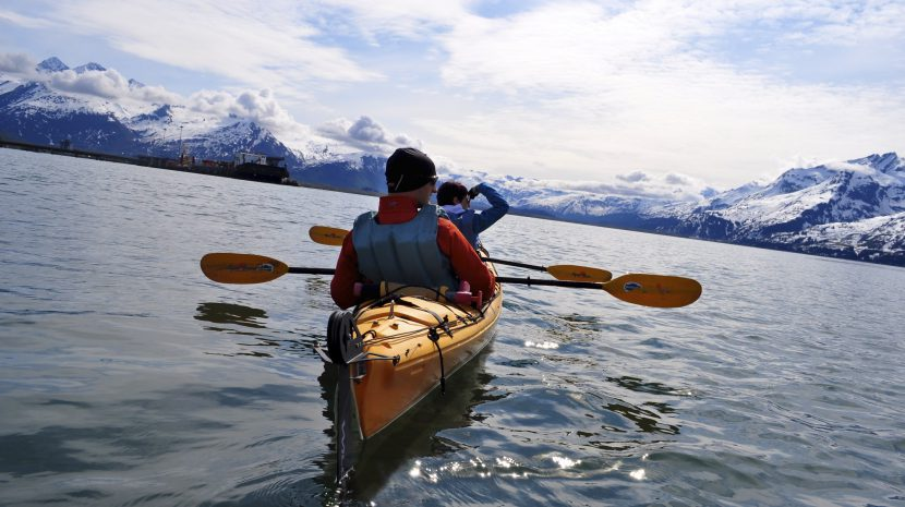 Kayak on Prince William Sound, home to 10,000 glaciers.