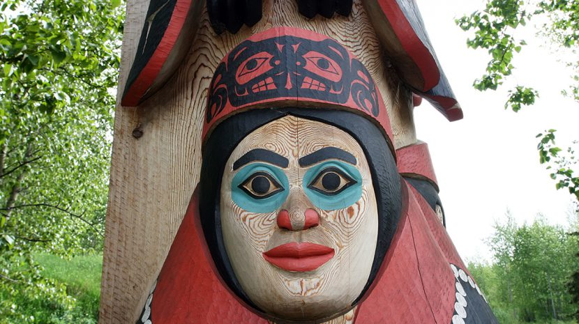 A totem pole at the Alaska Native Heritage Center