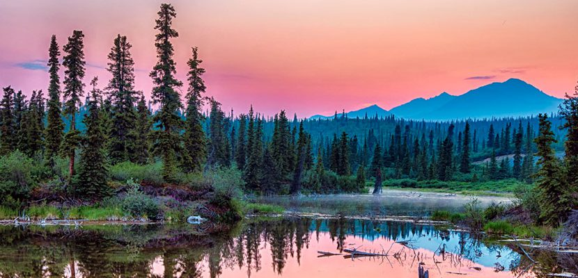 Beautiful Alaska wilderness at dusk