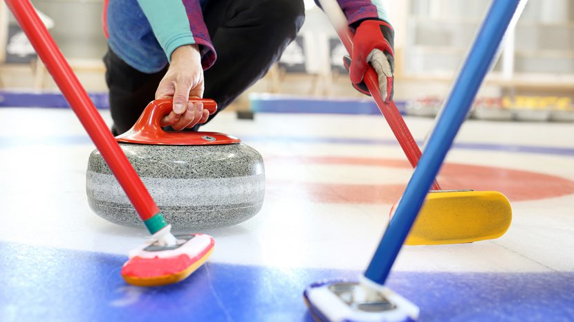 Curling equipment on the ice.